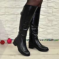 Сапоги женские демисезонные кожаные на невысоком устойчивом каблуке