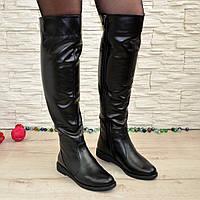 Женские кожаные зимние ботфорты на низком ходу