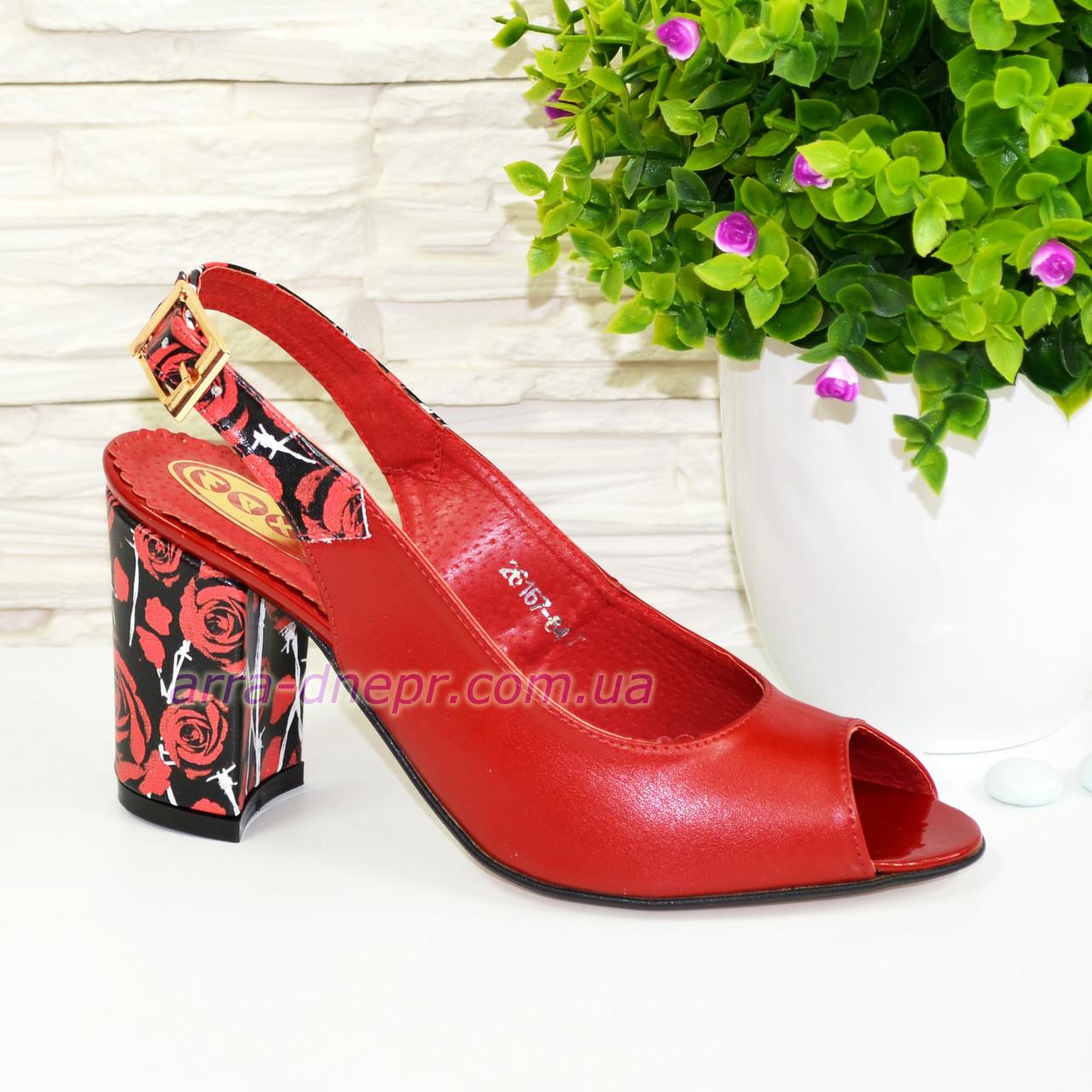 Женские кожаные босоножки на устойчивом высоком каблуке. Цвет красный/черный