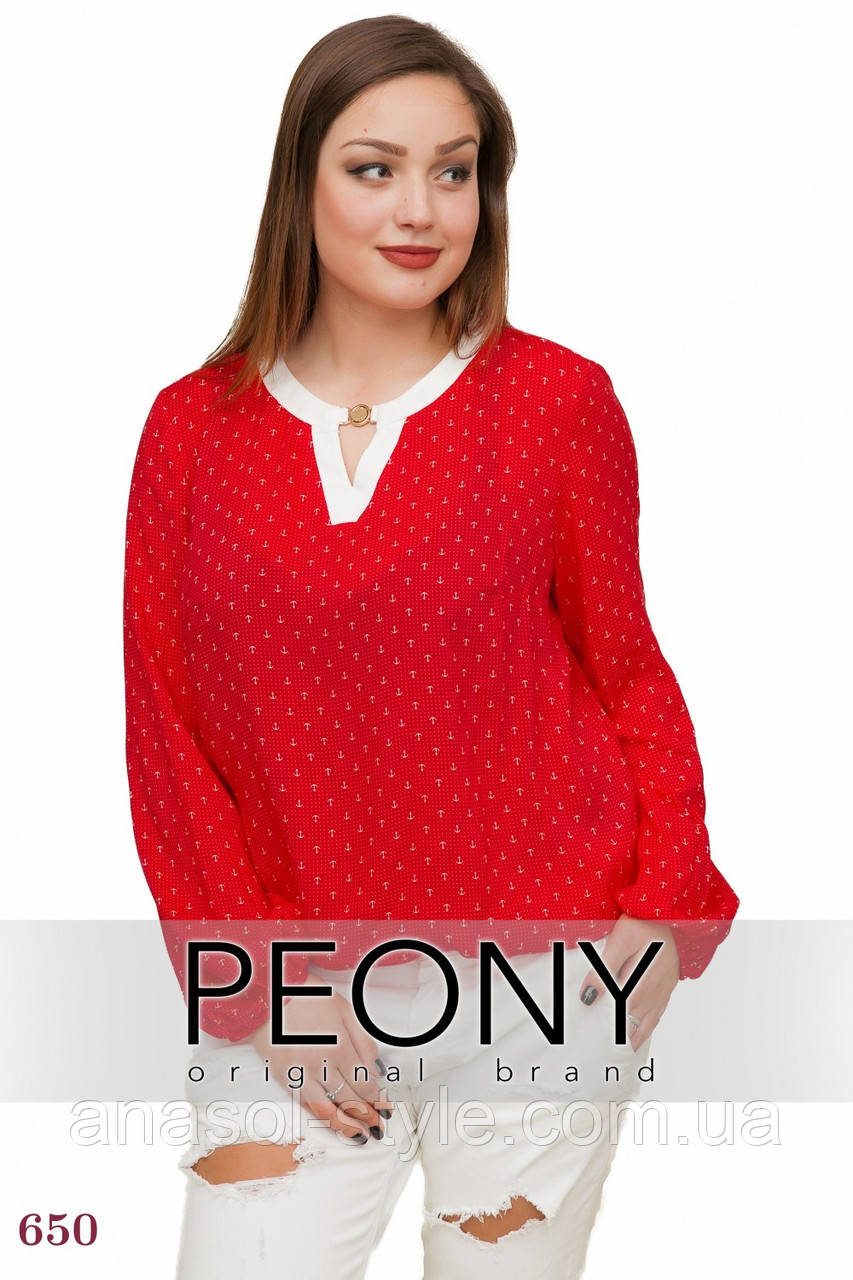 Блузка Генуя (50 размер, красный) ТМ «PEONY»