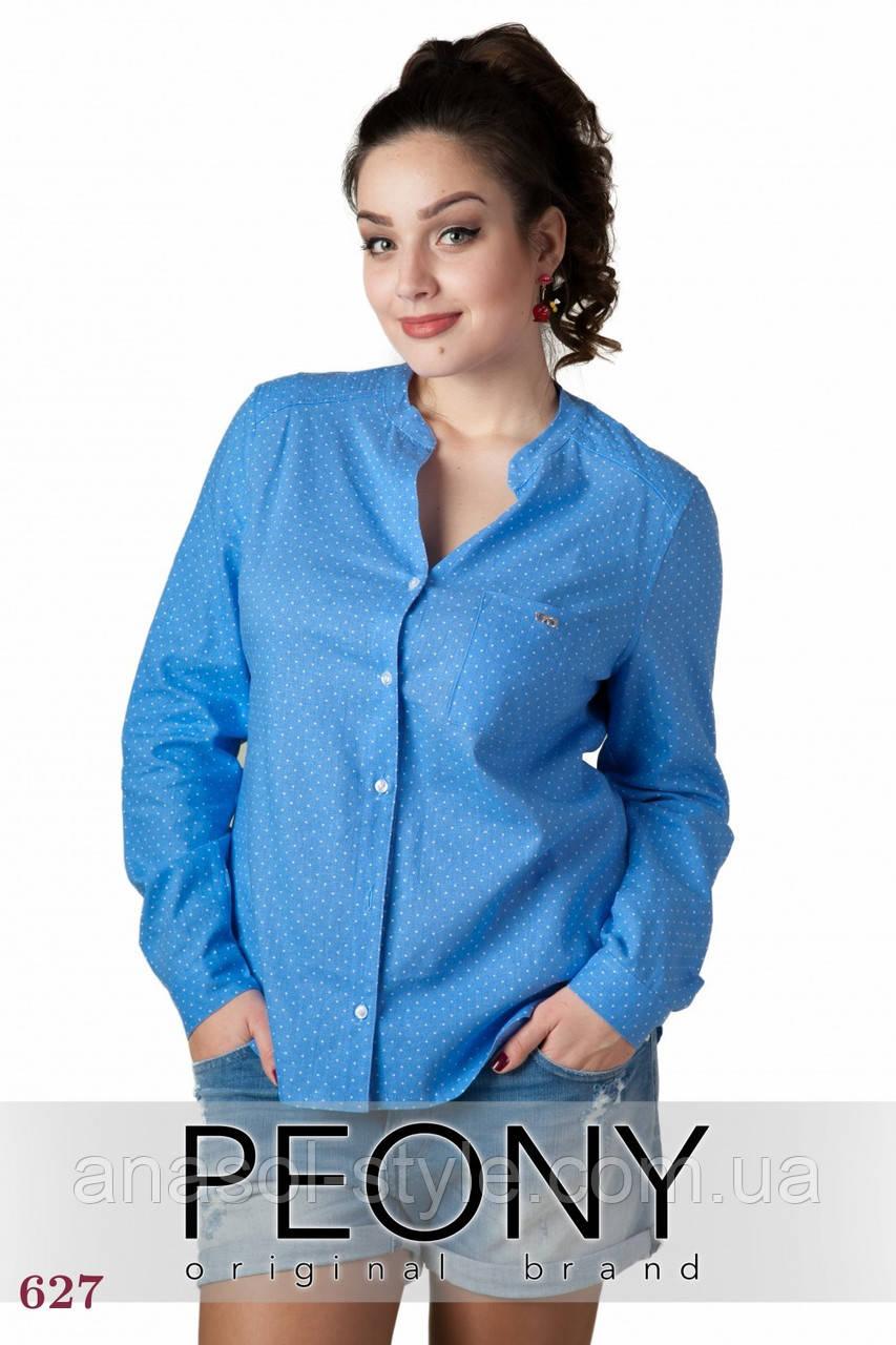 Женская рубашка Панама  (48 размер, голубой, горошек) ТМ «PEONY»