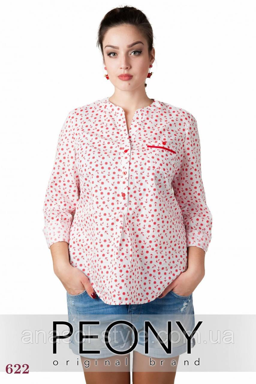 Женская рубашка Турне (50 размер, якорь красный) ТМ «PEONY»