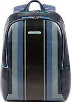 Городской модный рюкзак из натуральной кожи на 15 л. Piquadro B2 GRAPHIC/Blue, CA3214B2SER_BLU синий
