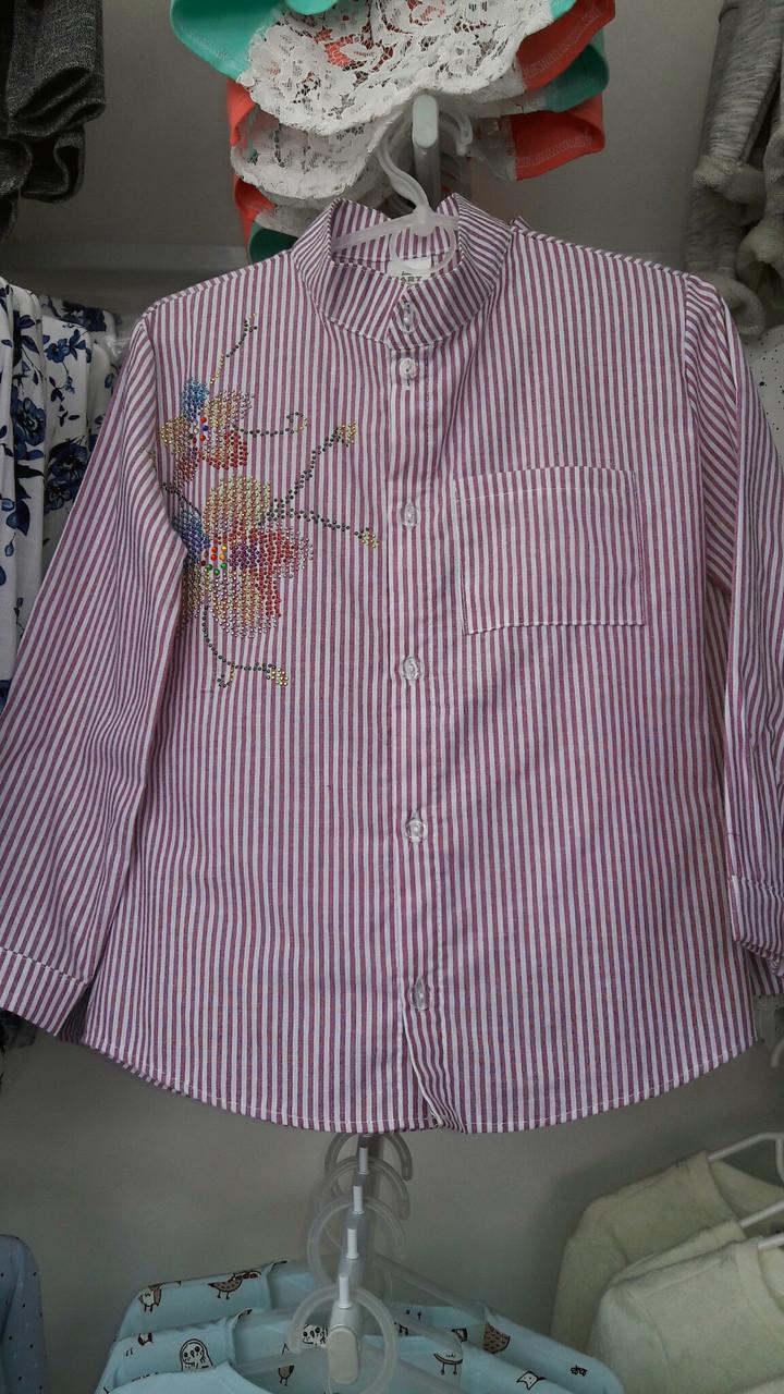 Нарядная детская рубашка на девочку в полоску