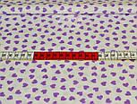 Ткань с сиреневыми мини-сердечками на белом фоне (№ 818), фото 2