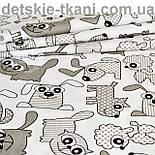 Бязь польская с собачками и котами серого цвета на белом фоне (№ 819), фото 5