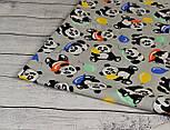 """Бязь польская  с """"Панды с шариками"""" на сером фоне (№ 820), фото 5"""