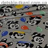 """Бязь польская  с """"Панды с шариками"""" на сером фоне (№ 820), фото 3"""