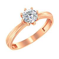 Золотое кольцо для признания в любви с одним камнем