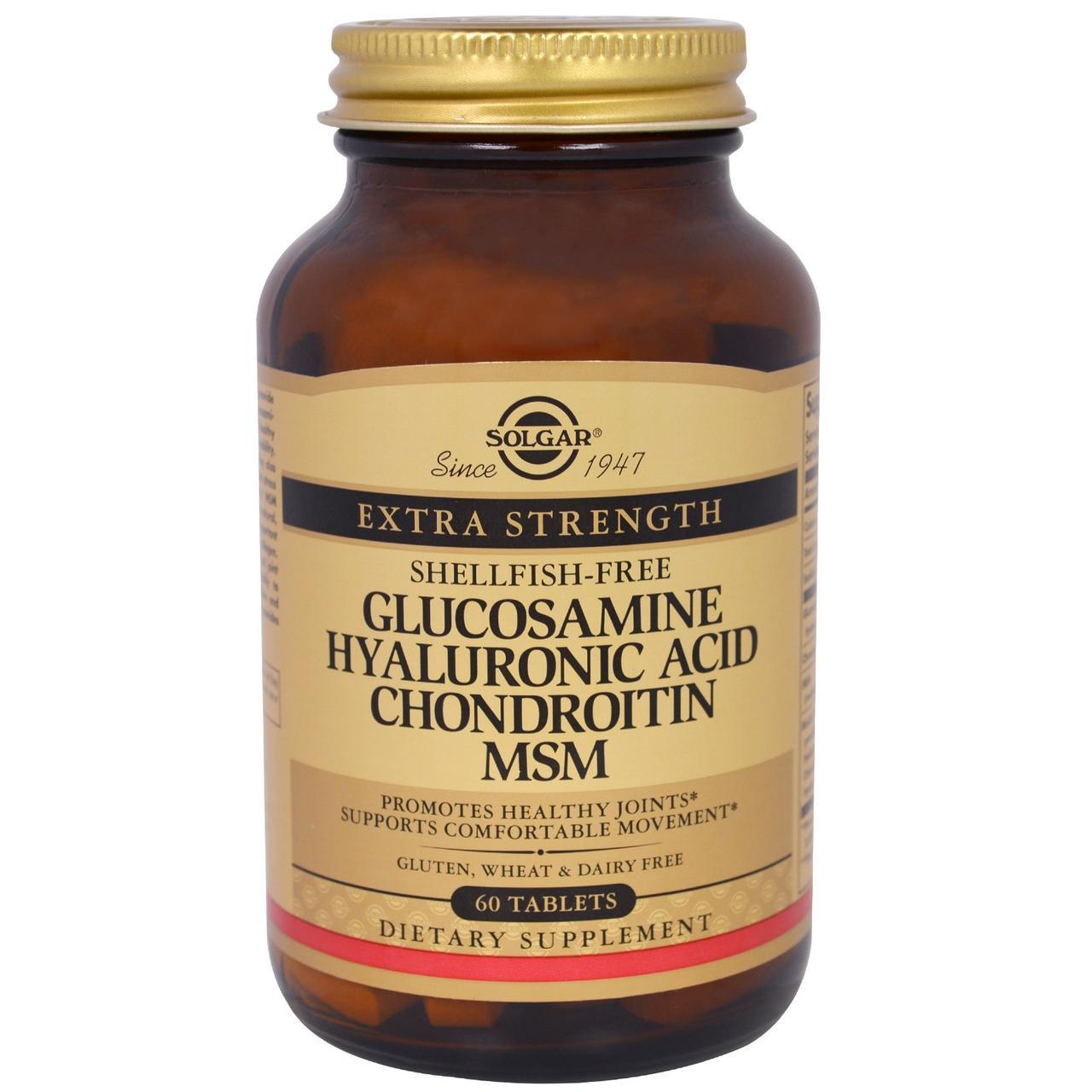 Глюкозамин Гиалуроновая кислота Хондроитин МСМ Солгар, 60 таблеток