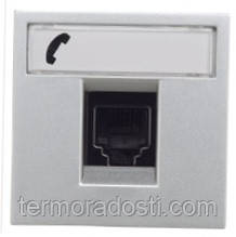 Розетка телефонная на 6 контактов RJ12 ABB Zenit Серебро (N2217.6 PL)