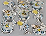Наклейки декоративные голубого цвета для скрапбукинга (жираф, малыш, коляска), фото 2
