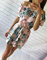 Летнее платье с двумя воланами «Трансформер» три варианта носки, с поясом яркий принт: синий лимон на розовом