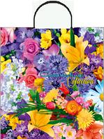 """Пакет с пластиковой ручкой 38х40/90мкм. """"Весенние цветы"""""""