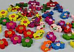 """Набор деревянного декора для рукоделия """"Разноцветные цветочки """" (7шт), фото 5"""