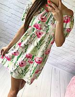 Супер модное платье-трансформер с двумя рюшами,поясом и очень ярким принтом: розовый мак+лилия