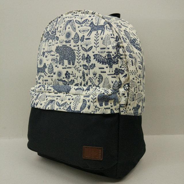 Рюкзак молодежный с узорами UKsport, чёрный с бежевым ( код: IBR019-4 )