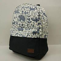 Рюкзак молодежный с узорами UKsport, чёрный с бежевым ( код: IBR019-4 ), фото 1
