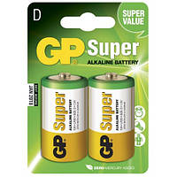 Батарейка GP Super Alkaline 13А-S2 щелочная LR20 D 2шт в спайке