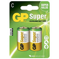 Батарейка GP Super Alkaline 14А-S2 щелочная LR14 С 2 шт в спайке