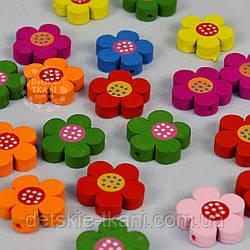 """Набор деревянного декора для рукоделия """"Разноцветные цветочки """" (7шт)"""