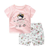 Детский комплект футболка с принцессой и шорты  для девочки легкие.