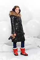 Удлиненное детское пальто в комплекте с теплыми рукавицами с мехом