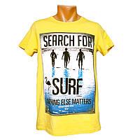 Стильная мужская футболка Surf - №2384, Цвет желтый