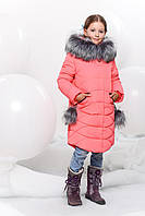 Детская зимняя куртка со  съемными меховыми бубонами