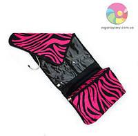Дорожная косметичка на металлической вешалке (розовая в полоску)