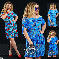 Синее платье штапель с коротким рукавом