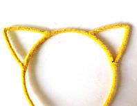 Обруч для волос ушки, кошечка, пушистый желтый