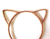 Обруч для волос ушки, кошечка, пушистый коричневый