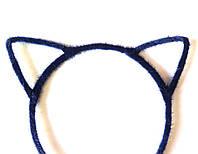 Обруч для волос ушки, кошечка, пушистый темно-синий