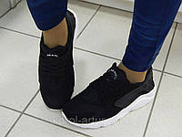 Женскиелетние кроссовки Nike Huarache / Хуарачи, легкие, в сетку, цвет-черный на белой подошве/