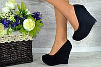 Женские черные туфли на танкетке., фото 1