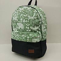 Рюкзак молодежный с узорами UKsport, чёрный с зелёным
