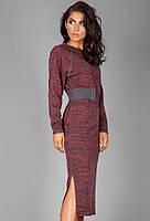 Теплое платье из меланжевого трикотажа