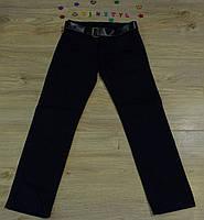 Котоновые  под классику  темно-синего цвета   брюки    для мальчика на рост 116-164 см, фото 1
