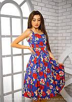 Летнее платье Монро-миди с цветочным принтом