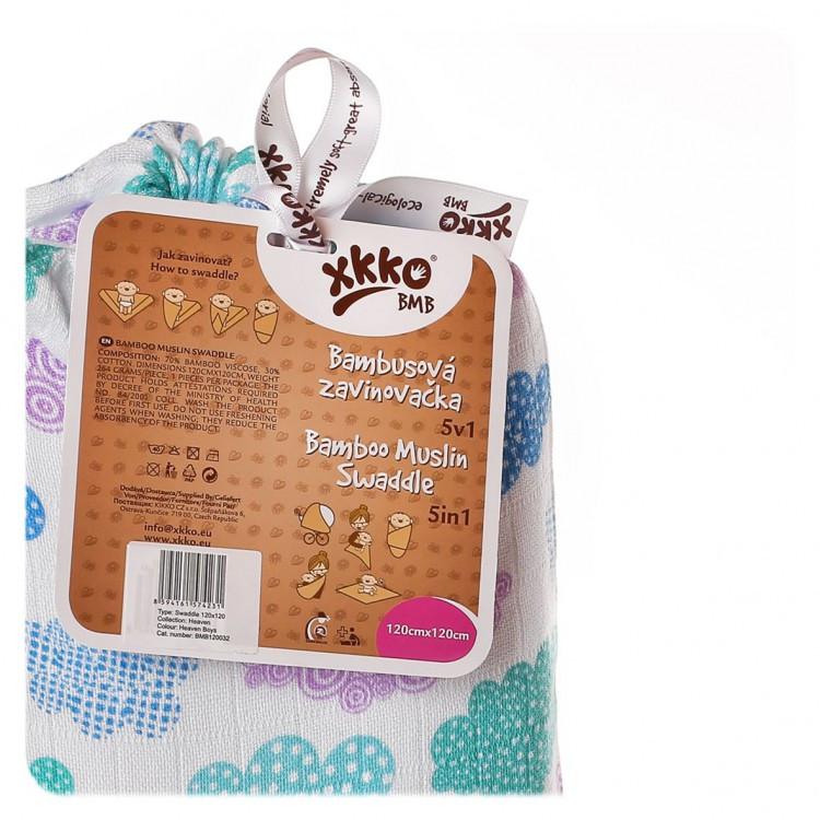 Пеленки бамбуковые  муслиновые XKKO 120х120 двухслойная 1 шт. Разноцветные для мальчика