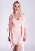 Романтичный комплект женский пеньюар и халат, высокое качество К014н