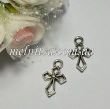 """Підвіска """"Хрест"""" 16,5 х 11 мм , колір срібло, 1шт"""