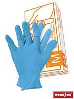 Нитриловые перчатки, голубые, неопудренные RNITRIO N