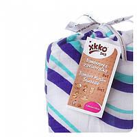 Пеленка детские бамбуковая, муслиновая XKKO 120х120 двухслойная 1 шт. Сиреневые волны, фото 1