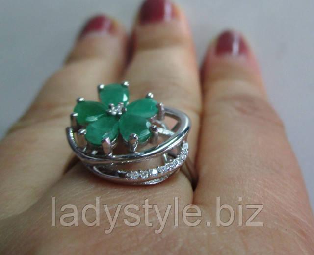 купить серебряное кольцо перстень с изумрудами подарок девушке женщине
