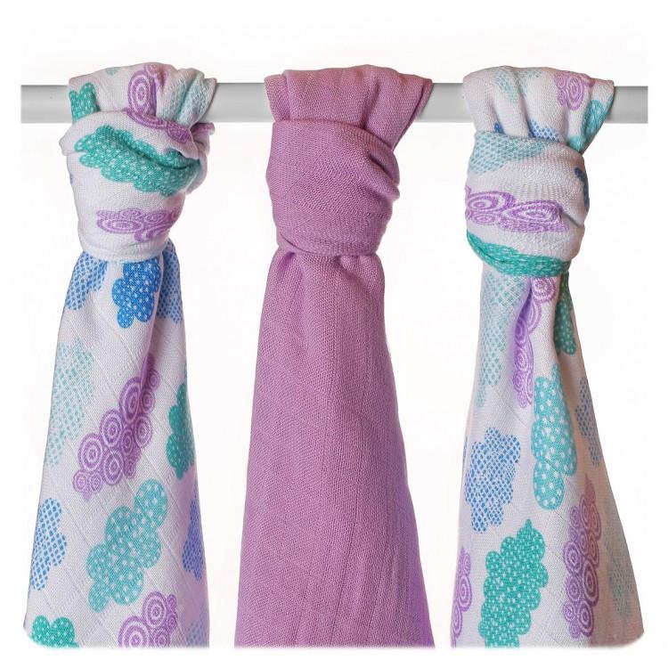 Пеленки детские бамбуковая, муслиновая XKKO 70x70 двухслойная 3 шт. Разноцветный для мальчика
