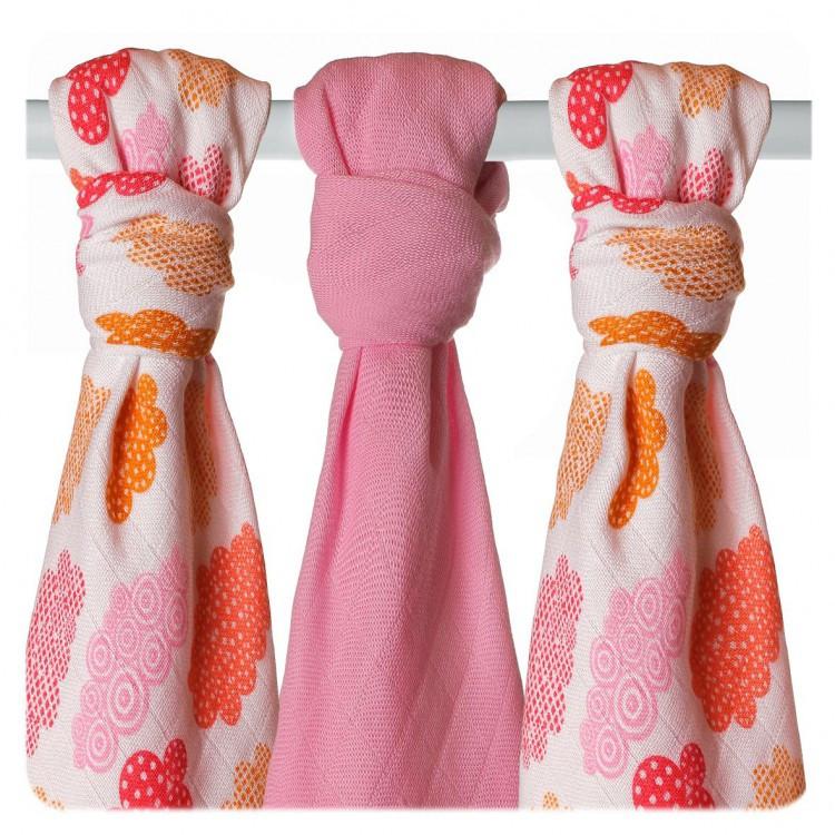 Пеленки бамбуковая, муслиновая XKKO 70х70 двухслойная 3 шт. Разноцветный для девочки