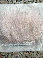 Перьевая тесьма из перьев страуса, оттенки молочного .Цена за 0,5м, фото 1