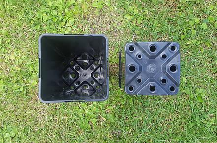 Горшок для рассады 1,7л (10,5x10,5x21,5см),квадратный, черный,100шт\уп, фото 2